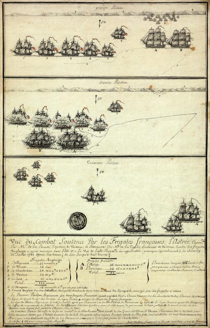 Vue du combat soutenu par les frégates françaises, l'Astrée, commandée par M. de La Pérouse, capitaine de vaisseau, et l'Hermione par M de La Touche.