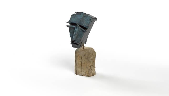 Claude BLONDEAU - L'Afrique d'ici et d'ailleurs - Bronze (à partir de bois collé) - 23 x 49 x 20 cm