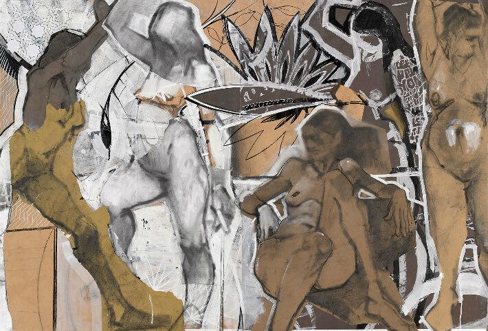 Michel BOWES - Rollercoaster - Papier, encre, fusain, acrylique - 140 x 100 cm