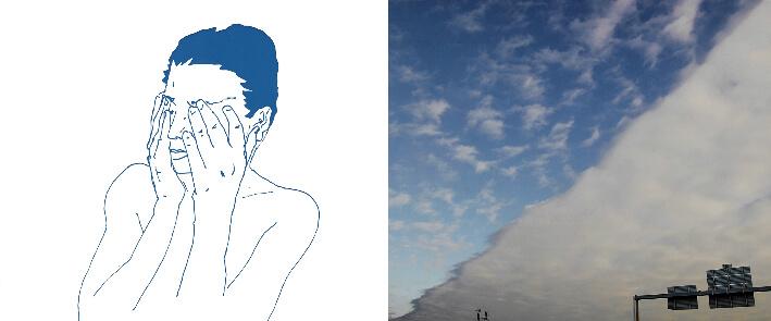 PieR - LA VILLE BLEUE - QUARTIER LA ROCHELLE - L'homme de Bleue - Photographie, dessin tirage limité sur papier Baryta, Dibond - 120 x 50 cm