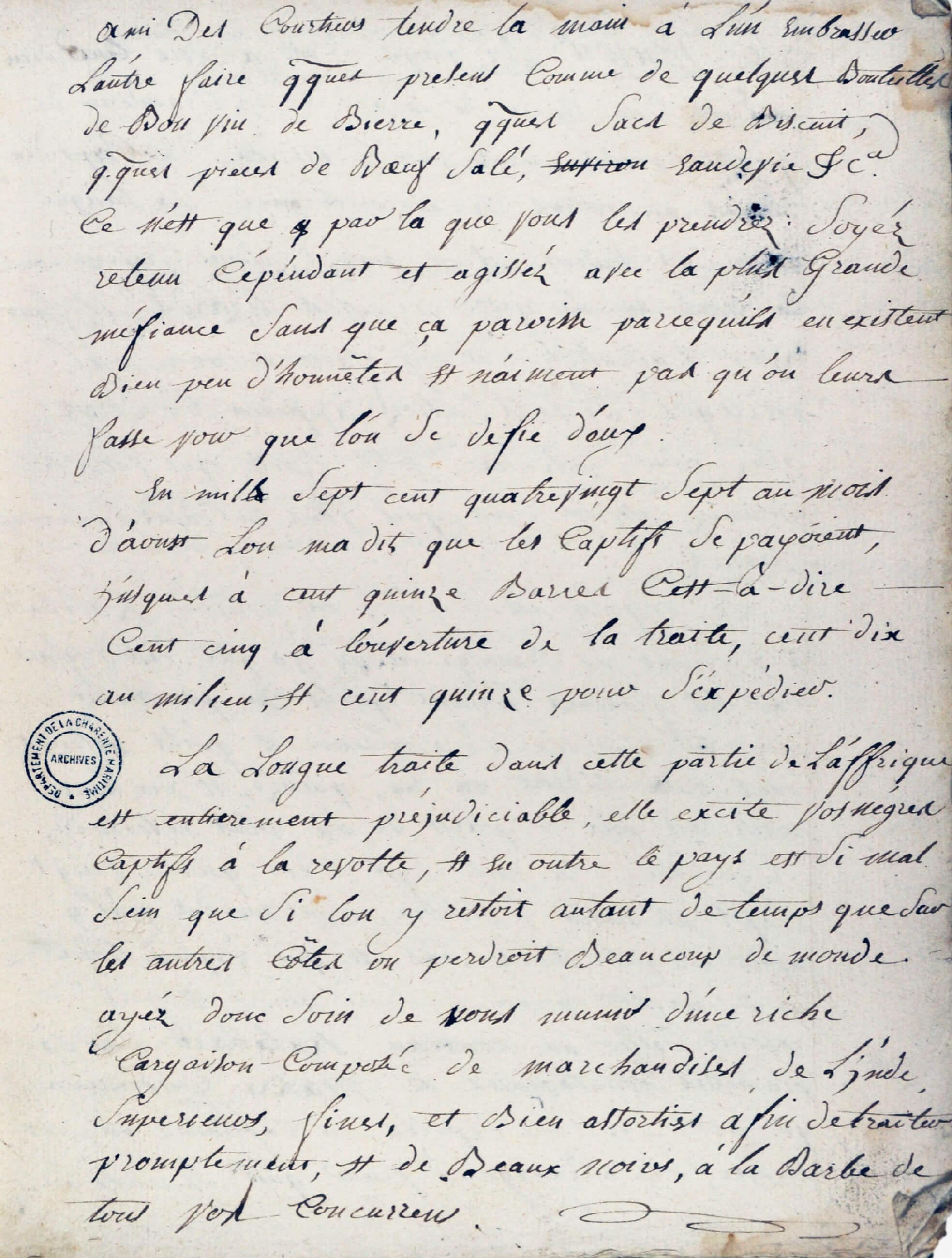 Cahier anonyme de conseils pour mener des opérations de traite négrière. (vers 1787-1788)