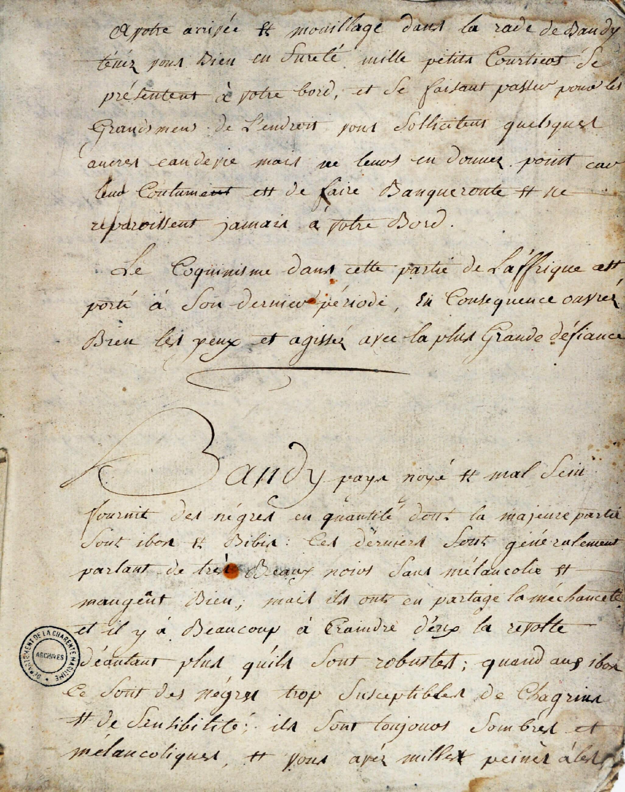 Un exemple de facture concernant des marchandises embarquées à La Rochelle en 1787 sur le navire le Solide afin de les échanger en Afrique contre des captifs.