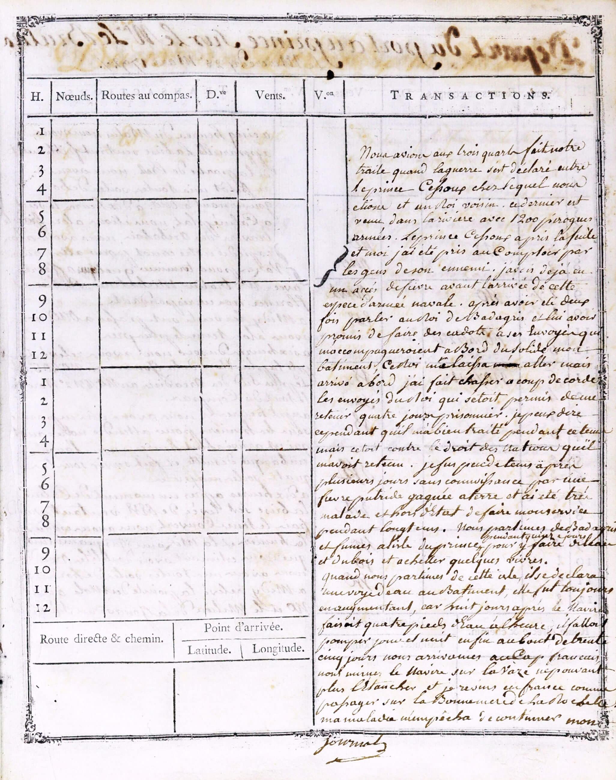 Attaque d'un campement négrier le 3 mars 1788.