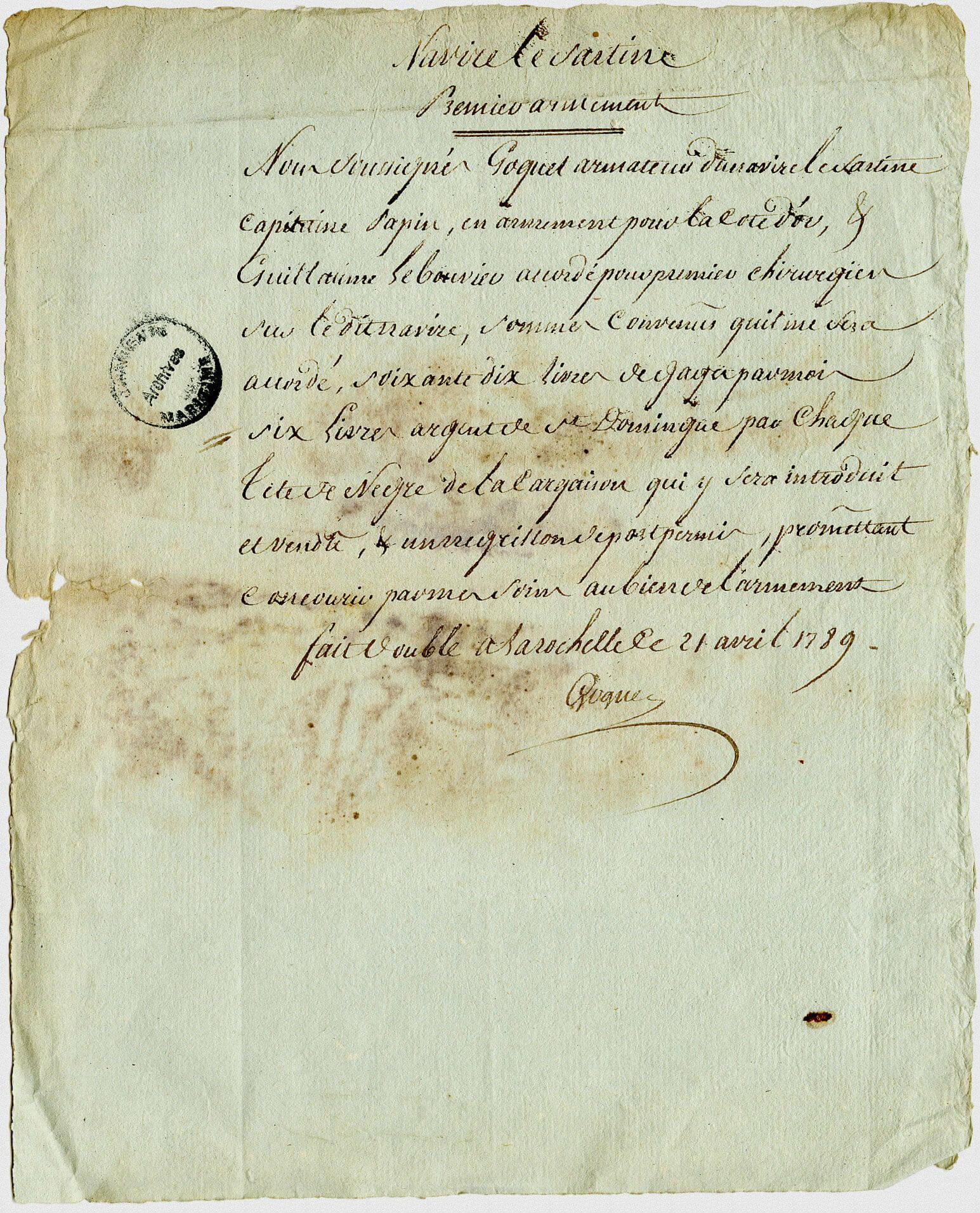 Contrat d'engagement de le Bouvier comme premier chirurgien à bord du Sartine. 21 avril 1789.