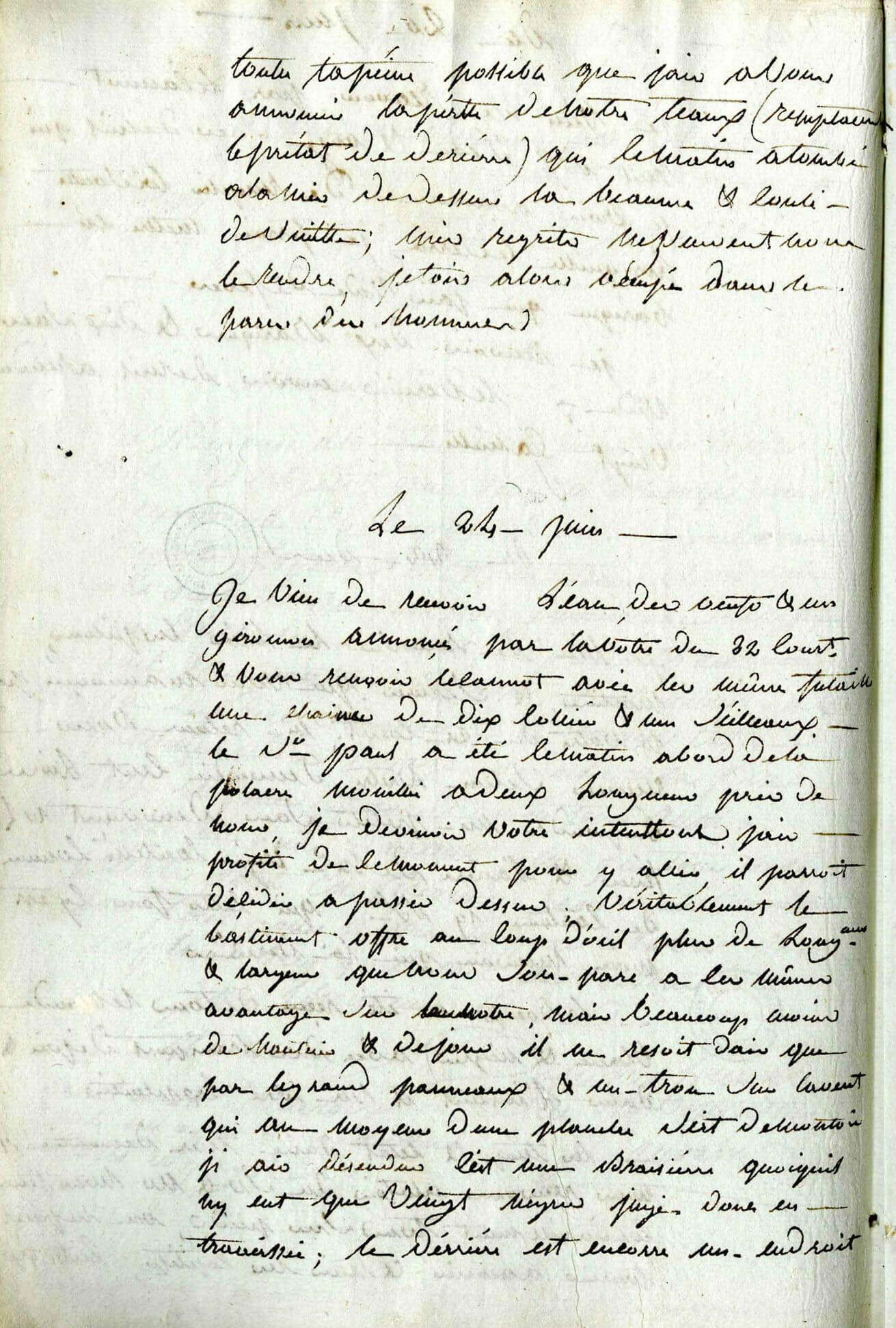 Correspondance adressée par Claude Vincent Polony au capitaine de La Reine de Podor  décrivant les conditions de vie des Noirs à bord d'un vaisseau rencontré