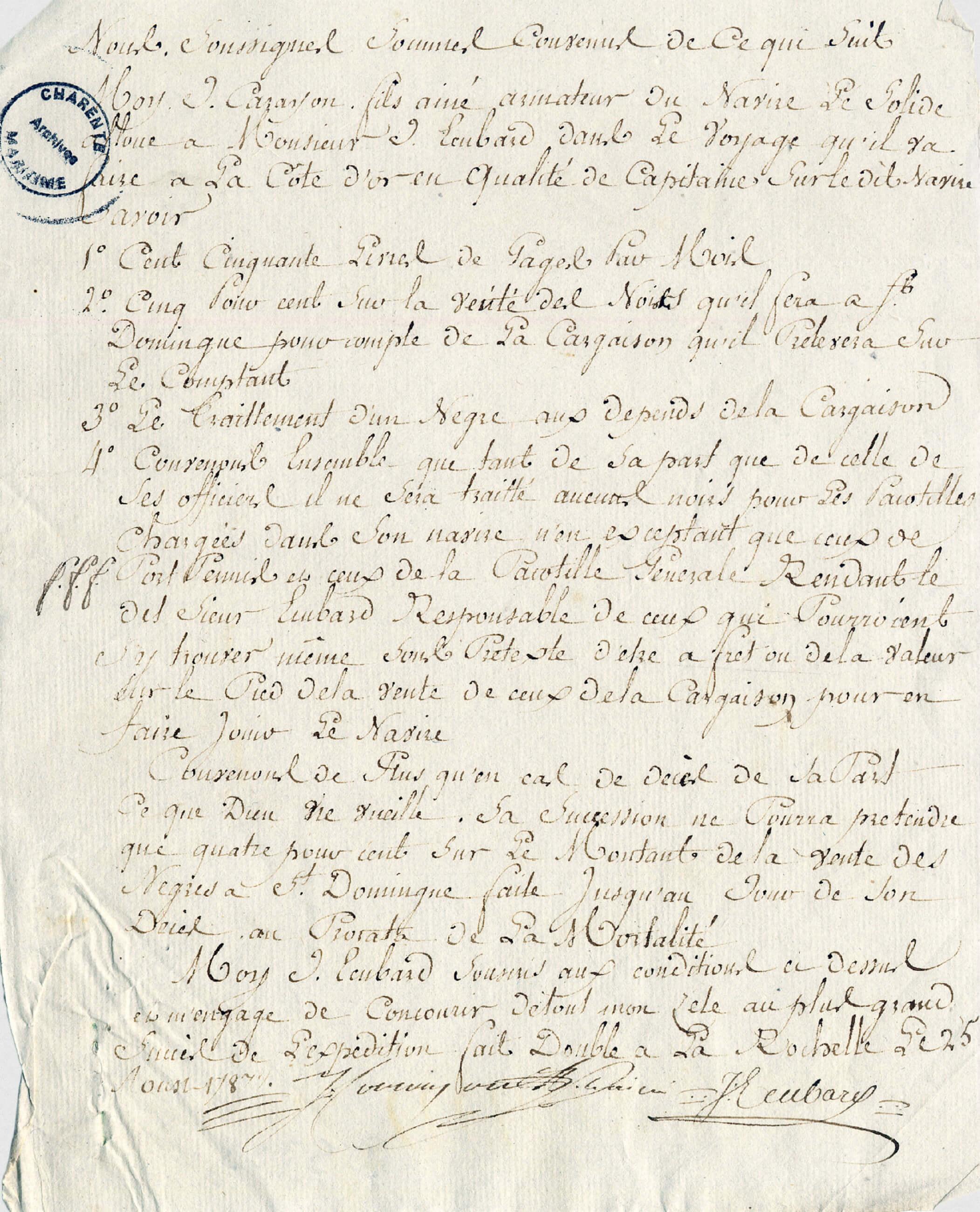 Contrat d'engagement de Jean Ecubard