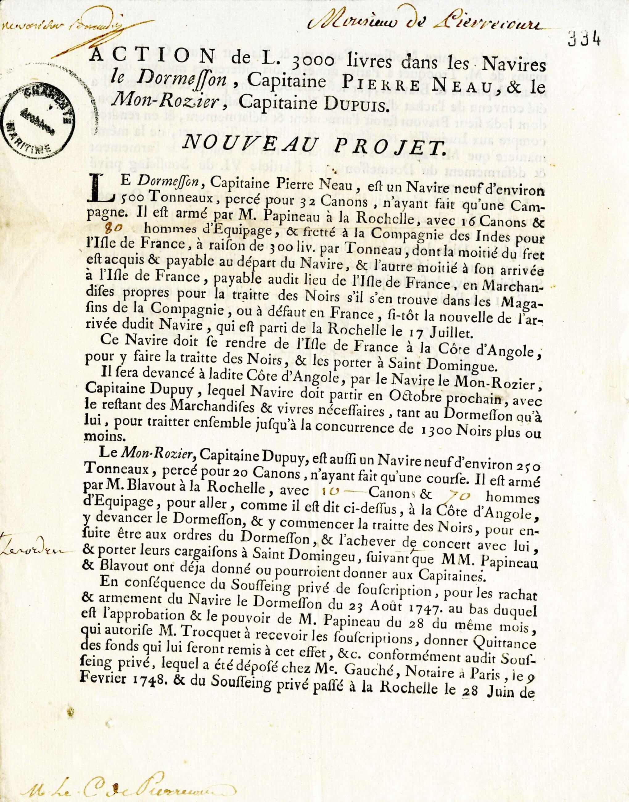 Action de 3000 livres concernant le voyage du Dormesson