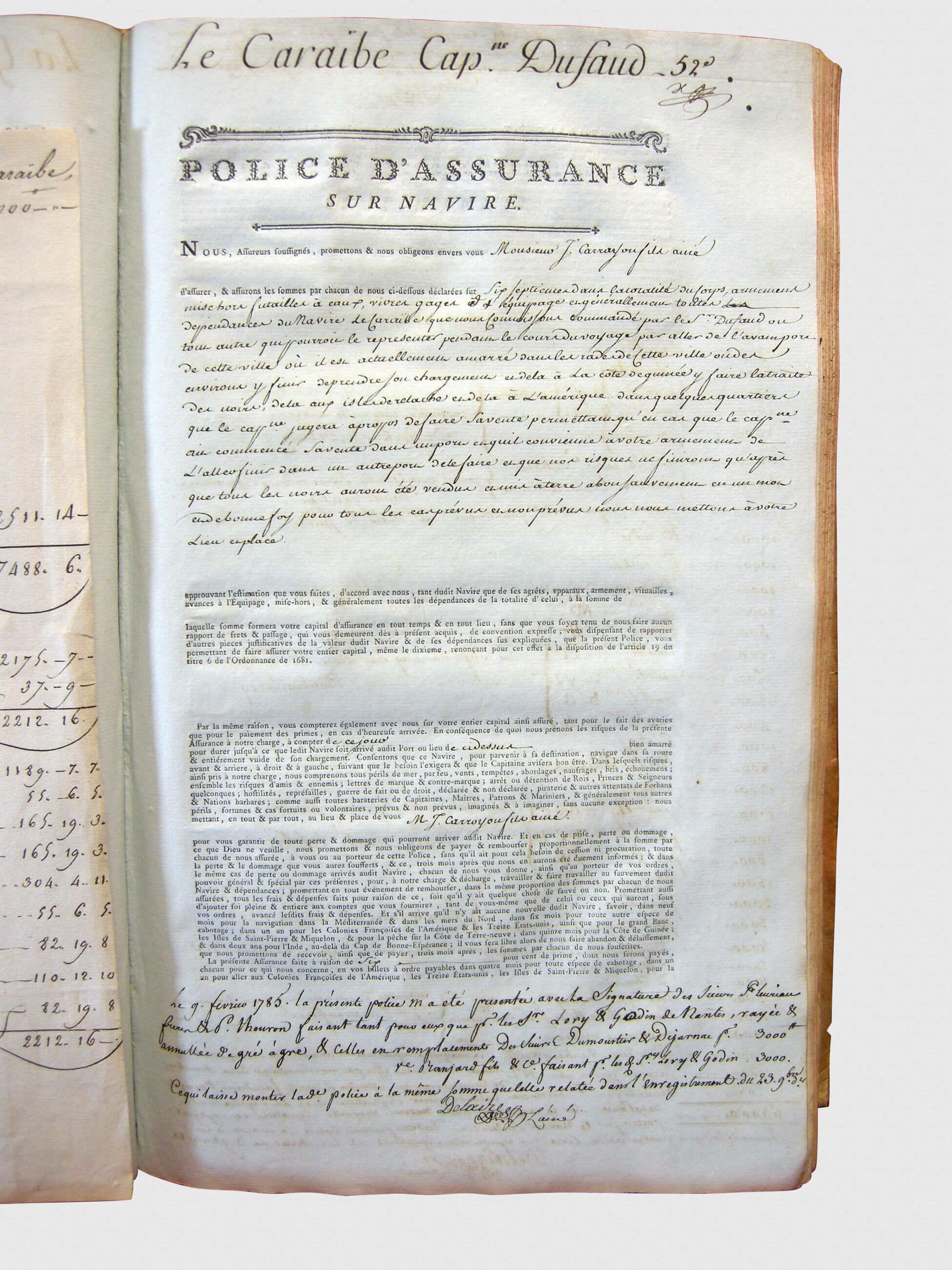 Registre d'assurance de la Chambre de commerce de La Rochelle (1784 – 1787), page concernant le navire le Caraïbe.