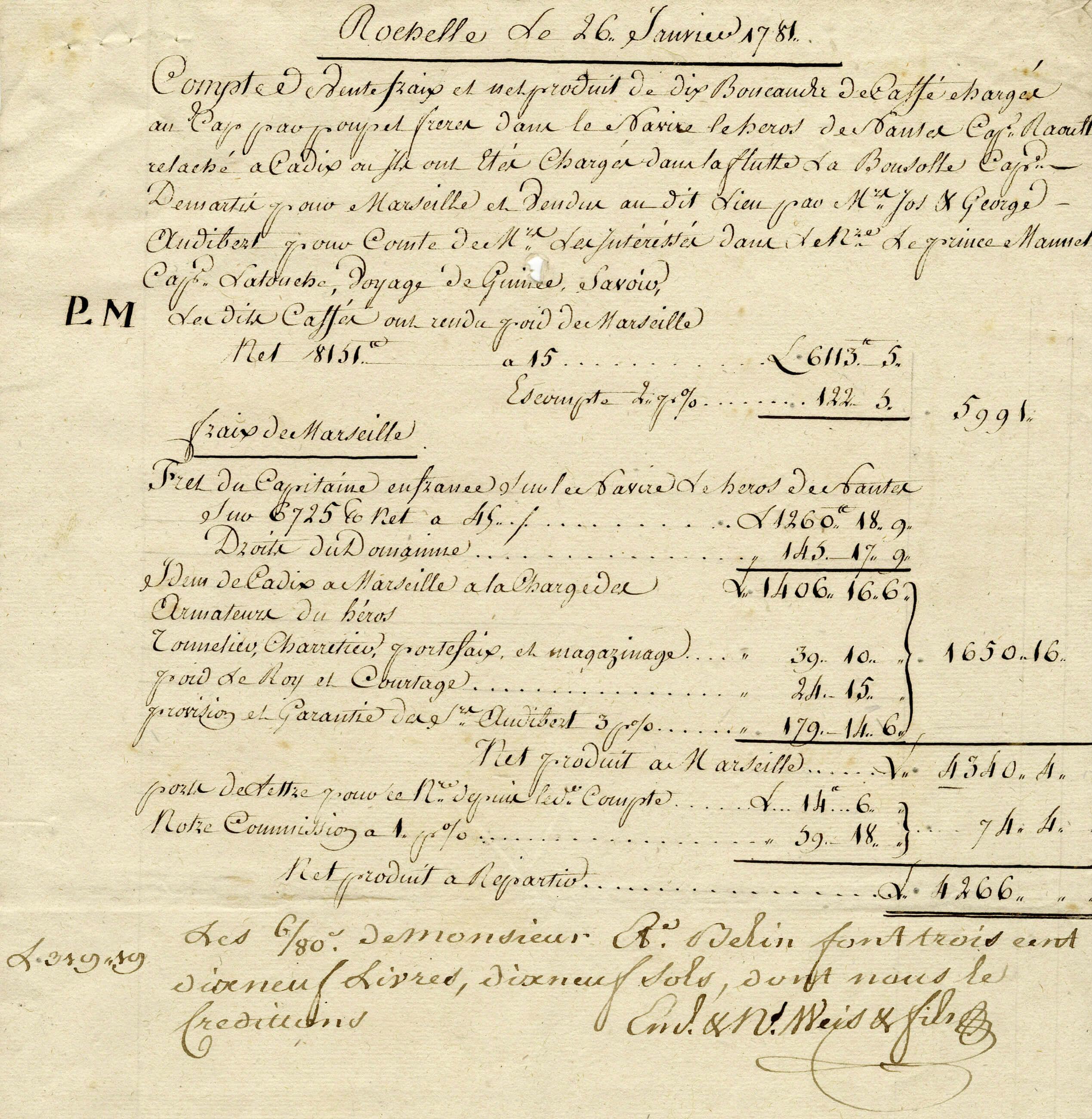 Facture du 26 janvier 1781 pour du café et du sucre