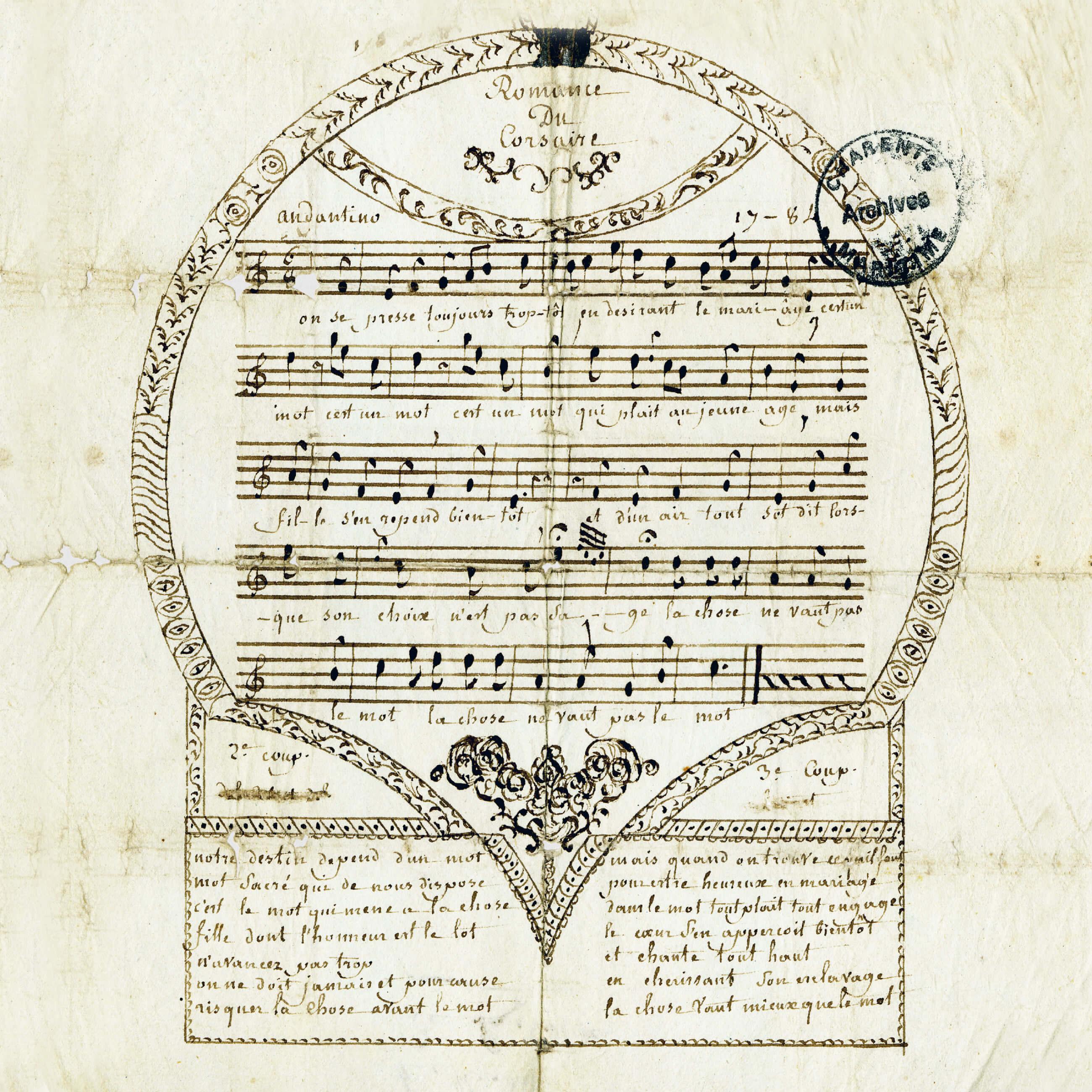 Partition et paroles de la chanson : Romance du corsaire