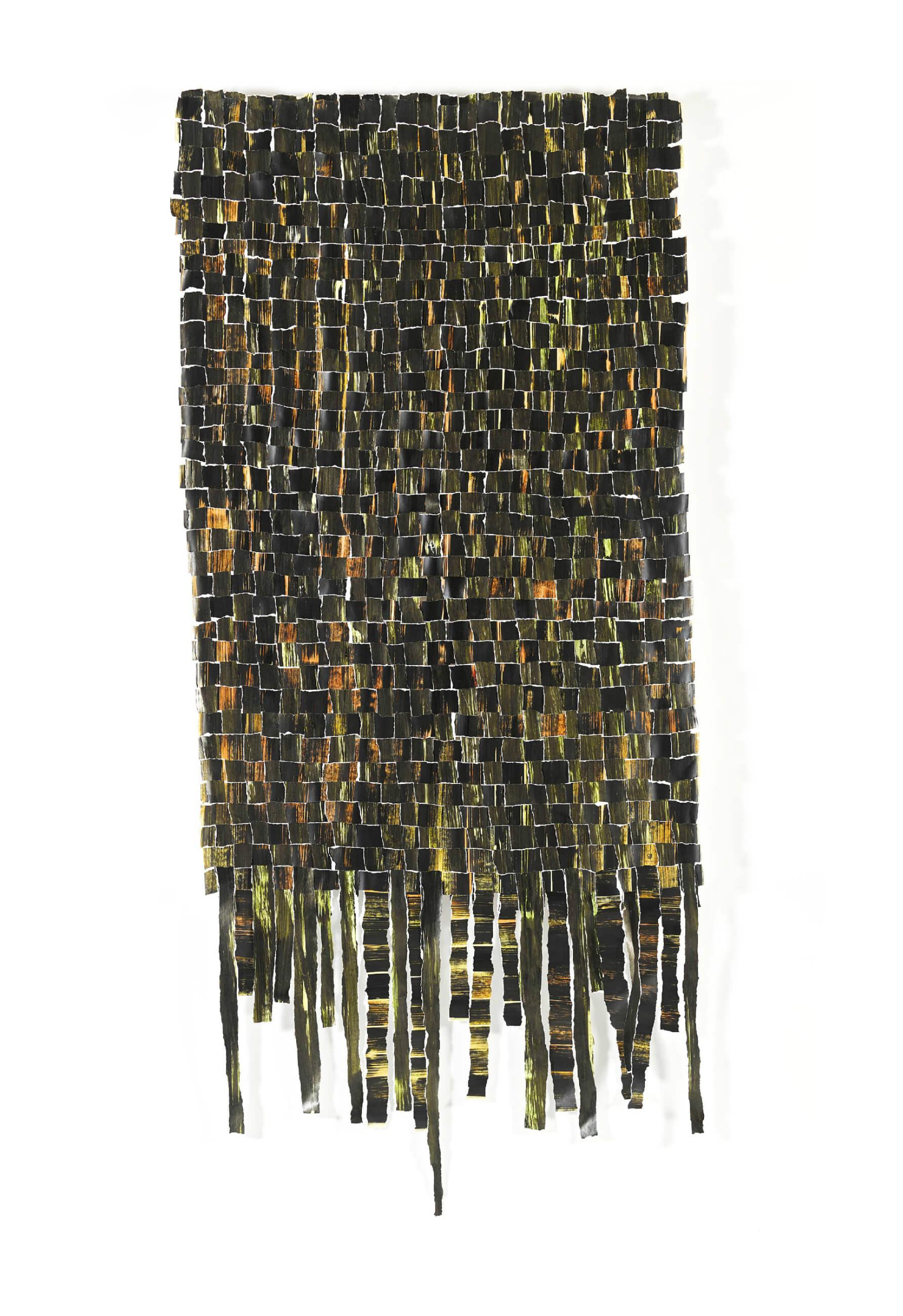 Chris ROPERT - Estuaire Tu es - Pigments, vernis et encre chinoise sur papier déchiré et tressé - 100 x 300 cm