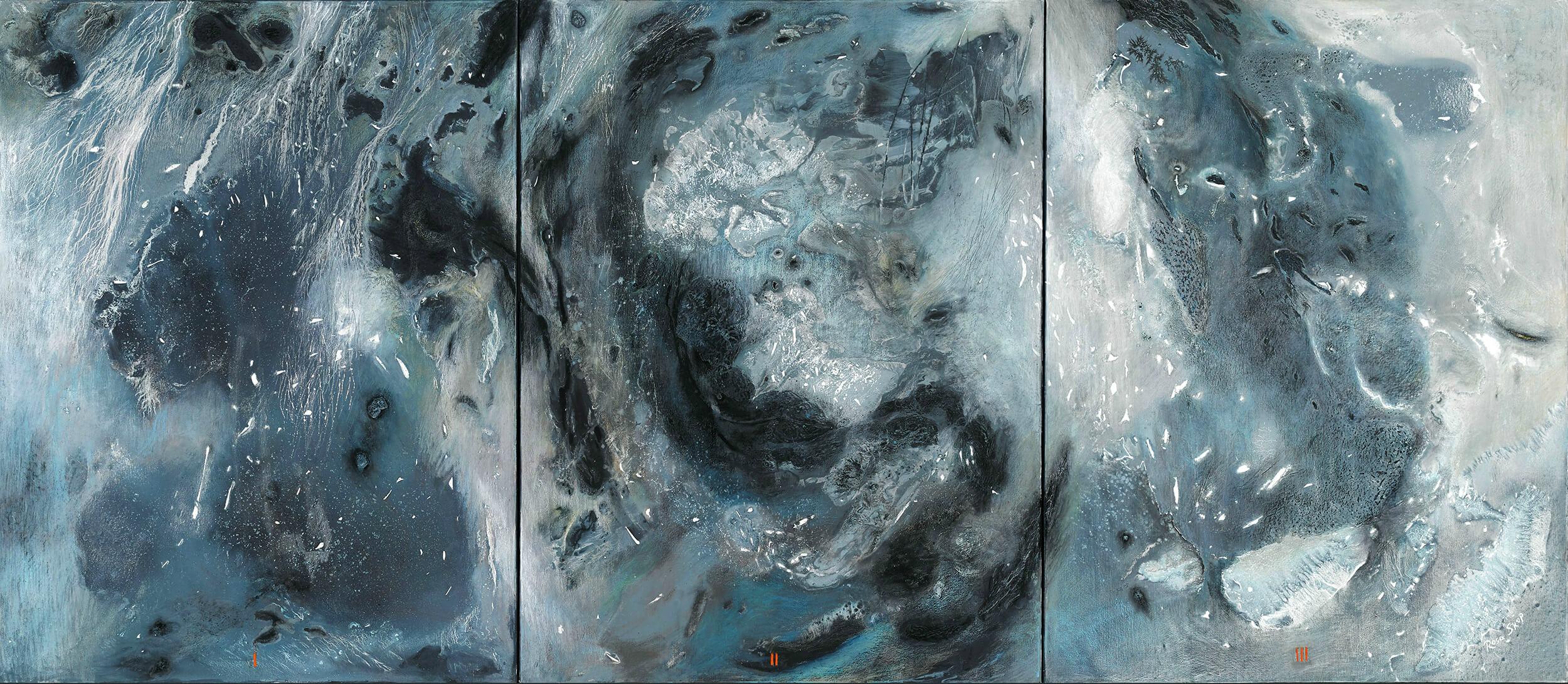 Rosa SKOP - Radiographie de l'espace - Acrylique et pastel sur toile - 267 x 117 cm