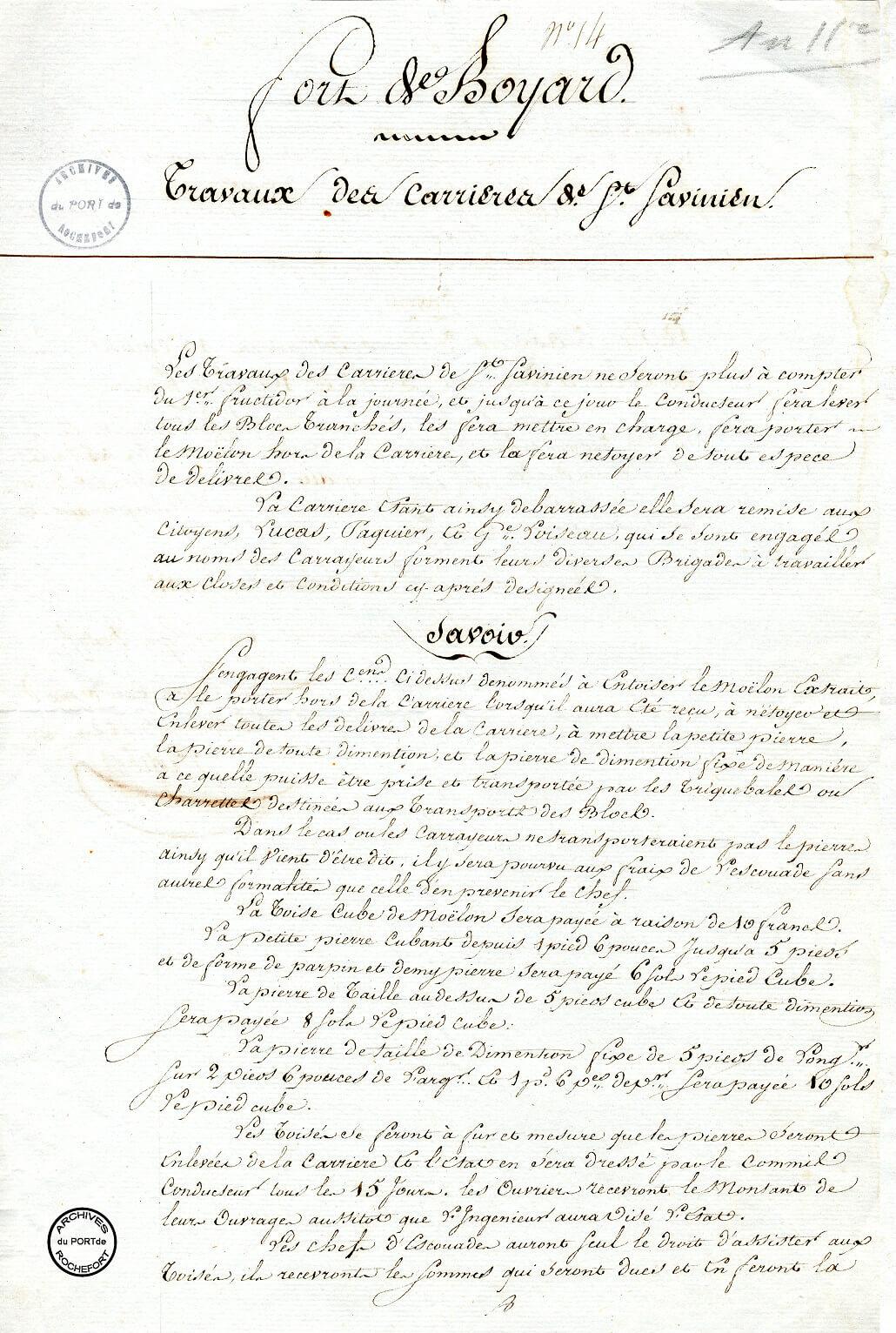Fournitures de pierres de taille pour le chantier de Boyard - 1803  -  1/2
