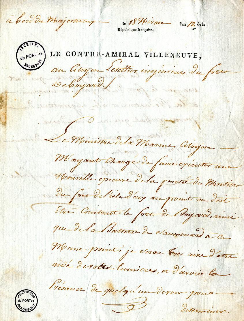 Lettre de Villeneuve informant l'ingénieur Bredif de tirs de mortiers - 1804  -  1/3