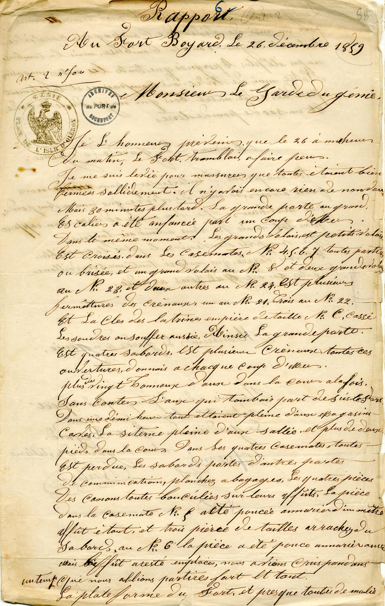 Le fort tremblai à faire peur.  Une tempête sur Boyard - 1859 - 1/2