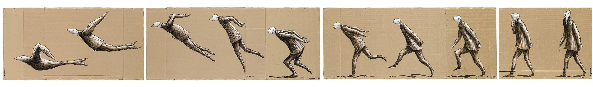 Christian AYRAULT -  Transformation - Acrylique sur cartons d'emballages de récupération, 565 x 70 cm