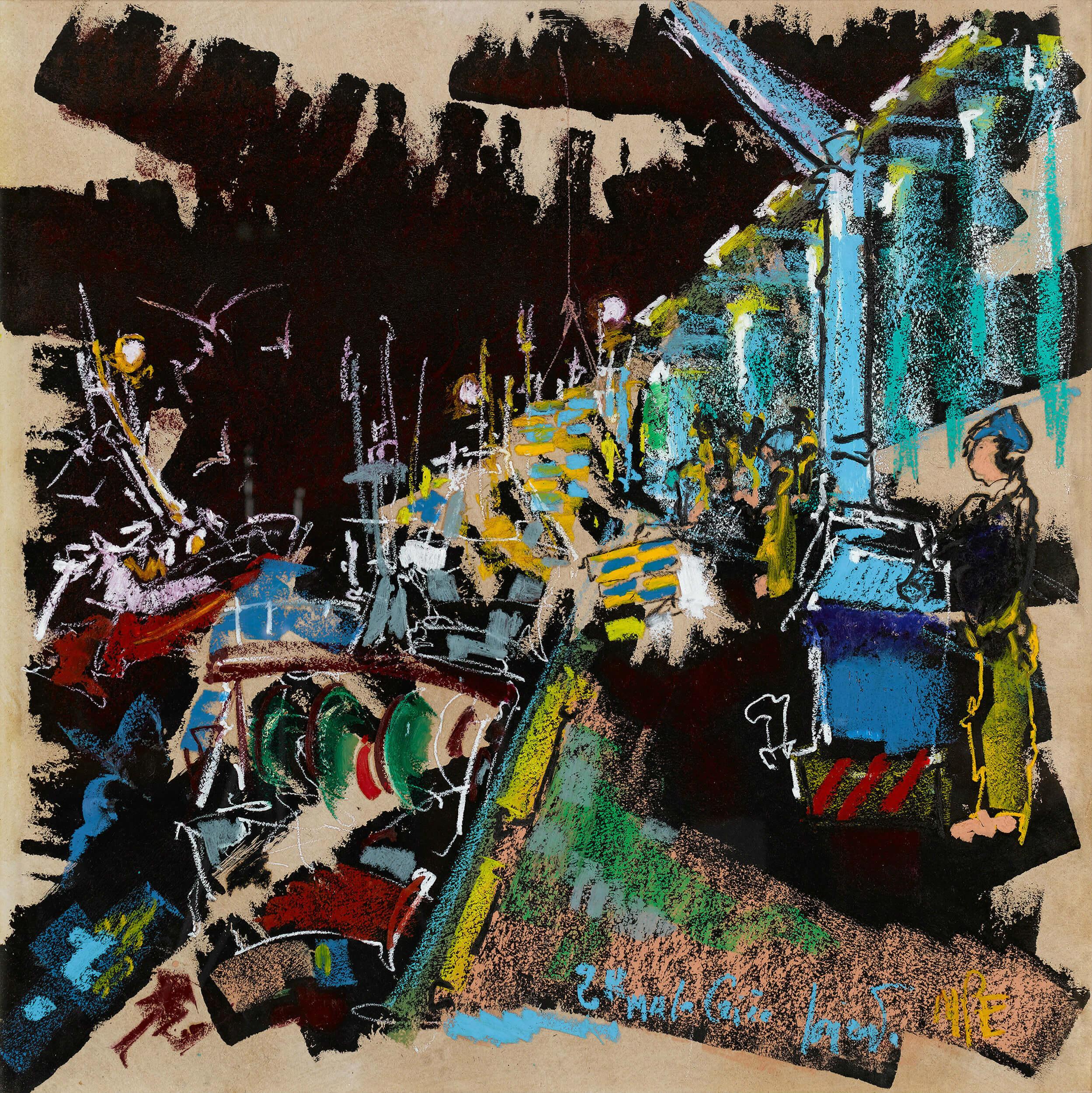 Marie-Pierre ESTÈVE - Le retour des pêcheurs – la criée - Pastel gras et encre, 100 x 100 cm