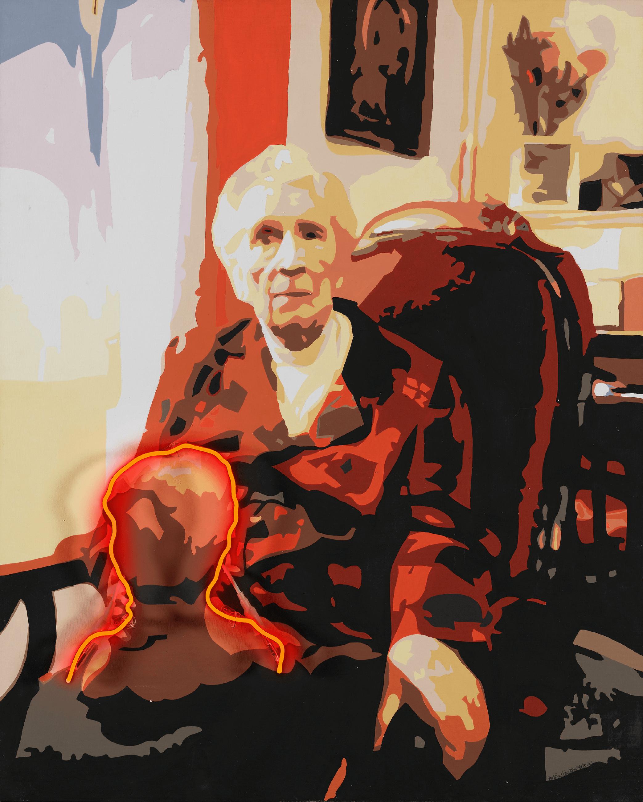 Patricia HERVÉ - Centenaire -Acrylique sur toile de lin, néon haute tension, 81 x 100 cm