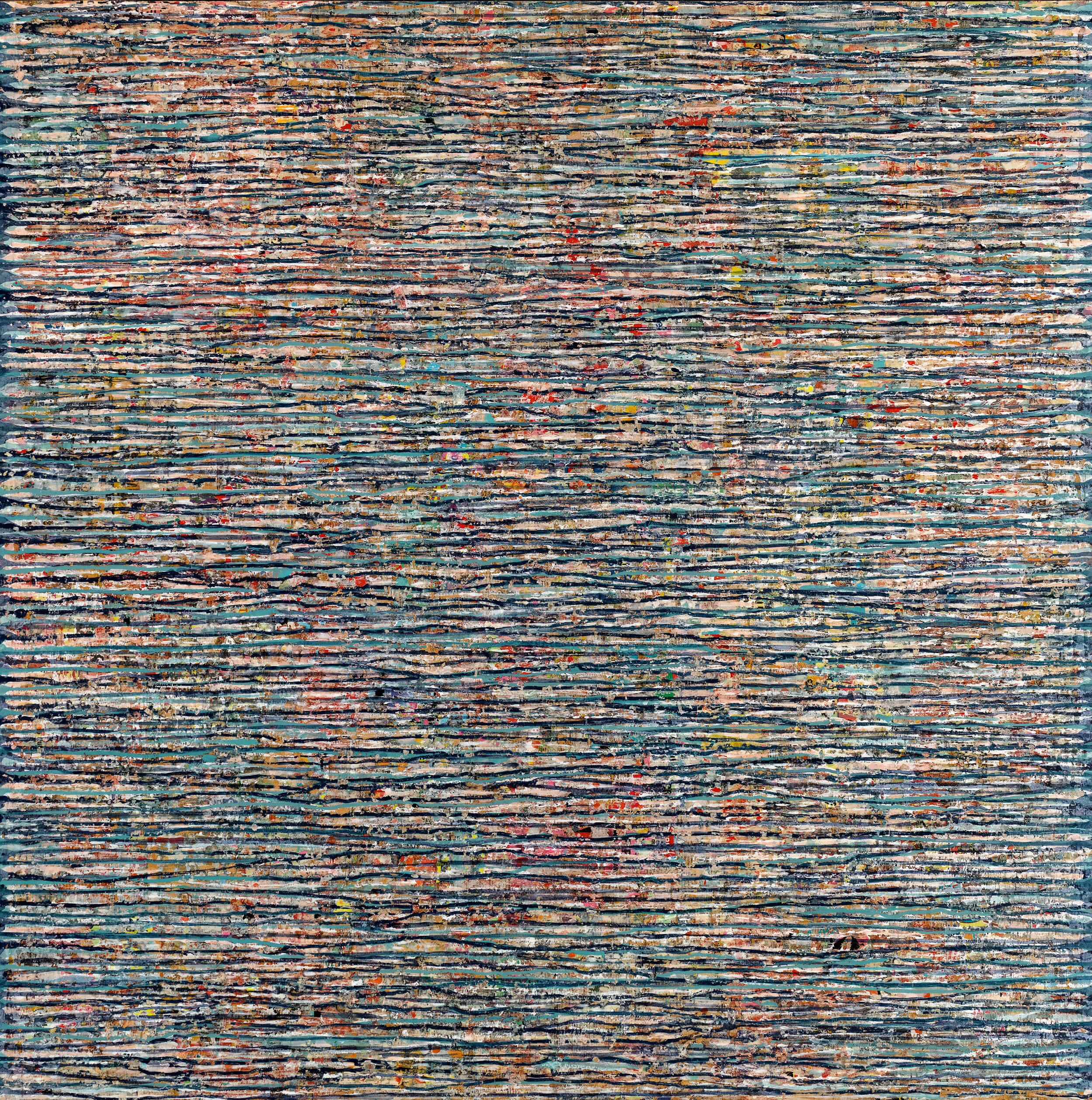 Vincent LEMAÎTRE - APC.702 - Acrylique/collage sur médium 3mm, châssis, 110 x 110 cm