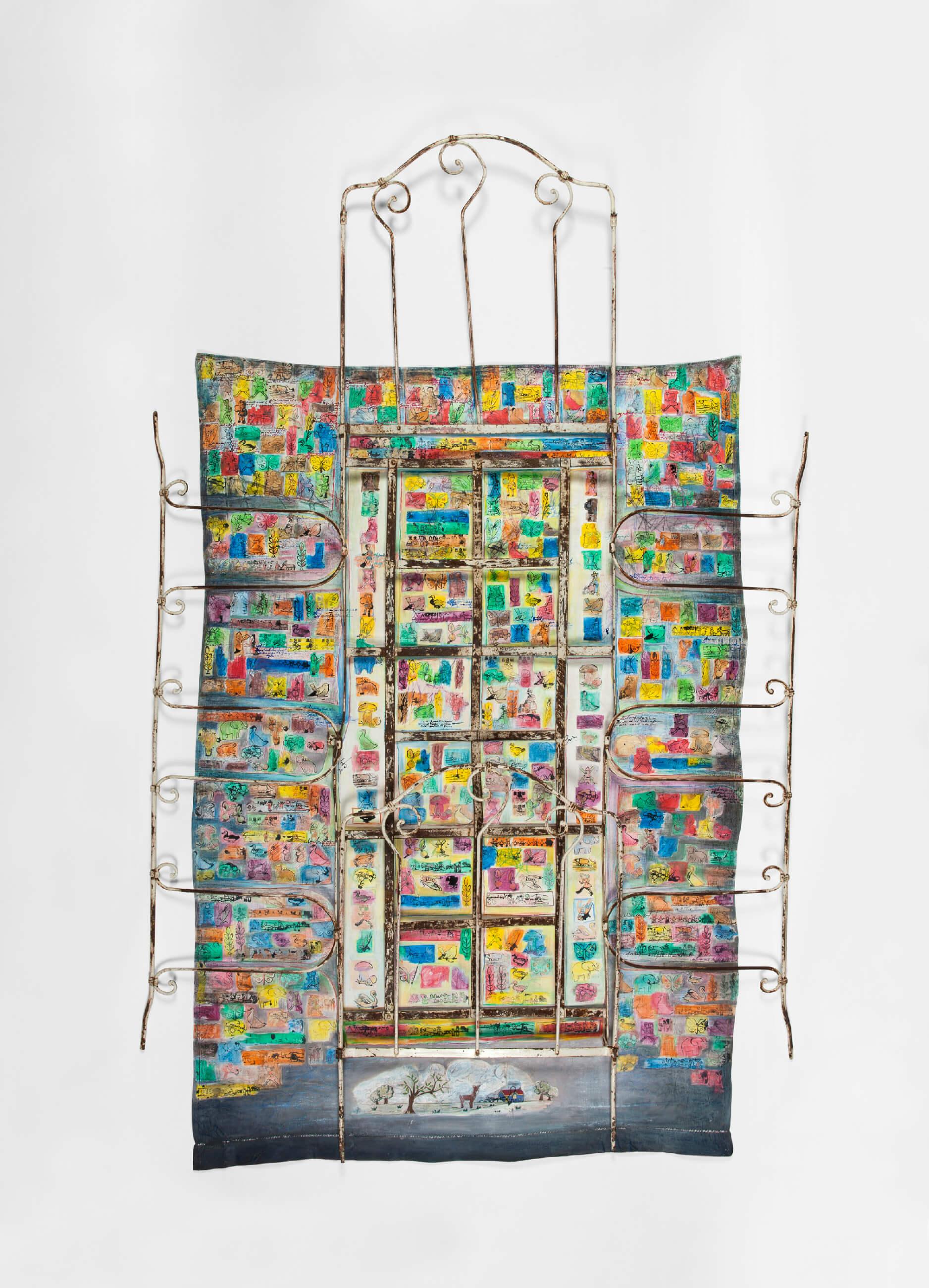Nicole MORIN - Mémoires d'enfance - Lit ancien, tampons scolaires anciens, drap, crayon de couleur, encre, 128 x 260 cm