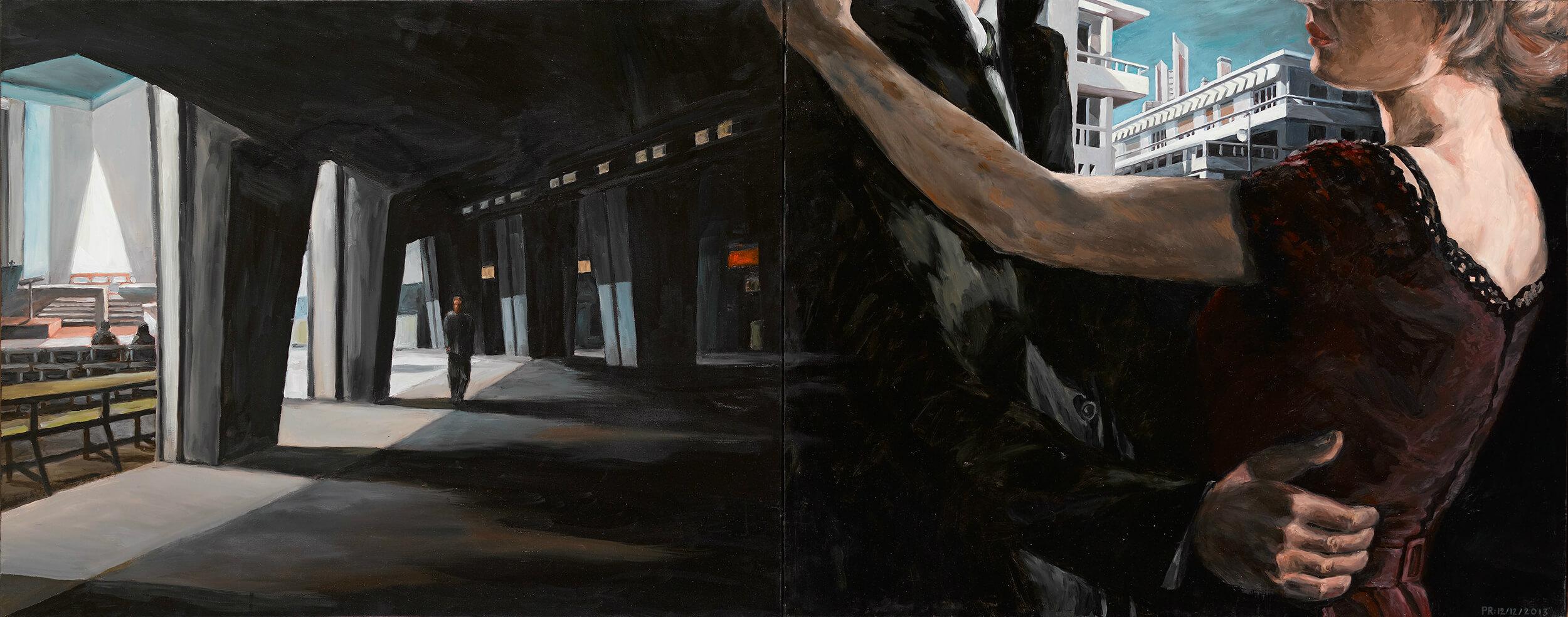 Philippe ROBERT - Au coeur du petit jour - Huile sur toile sur lin, diptyque 184 x 75 cm