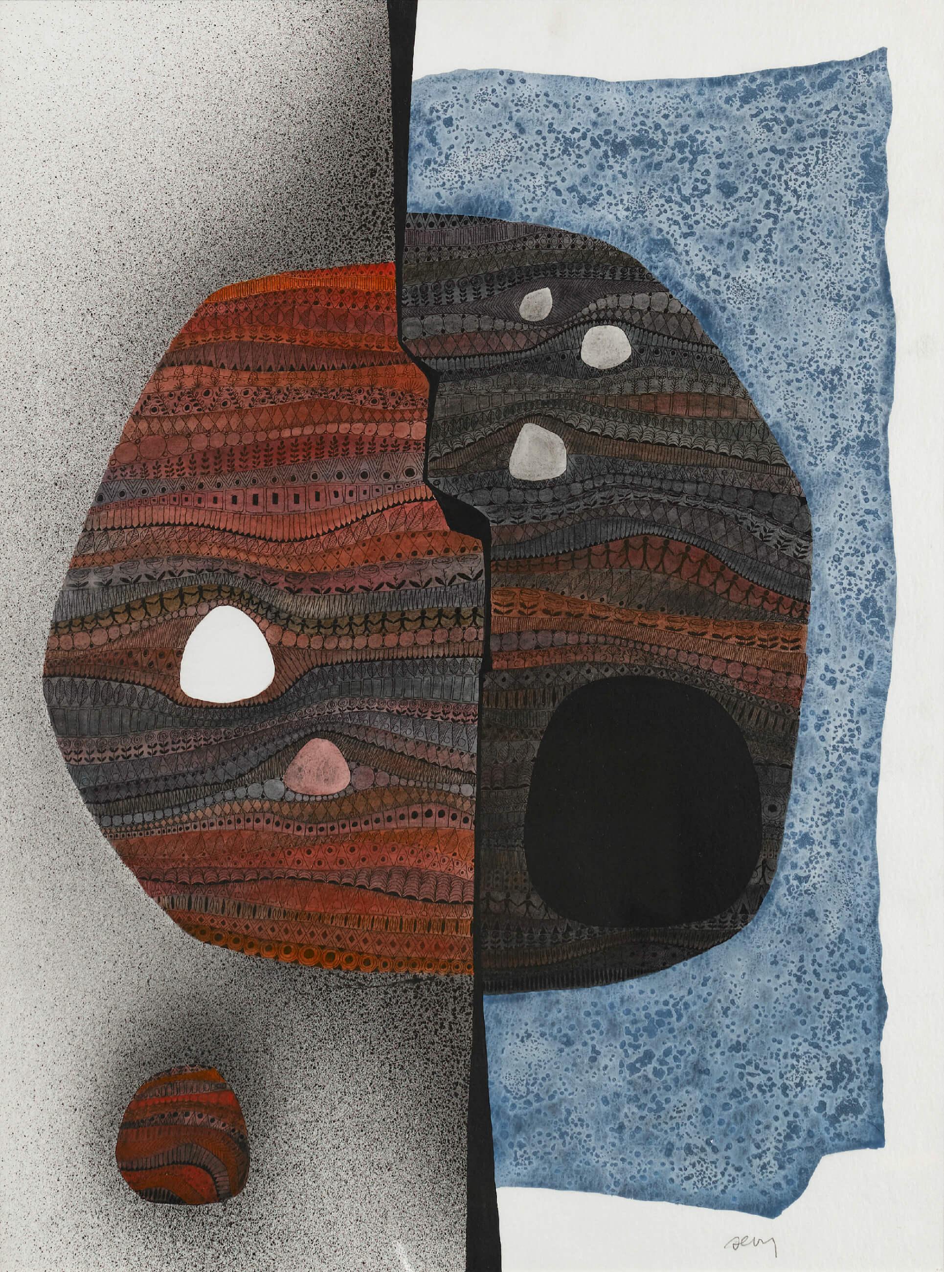 SÊVY - Le partage du monde - Encre de Chine et peinture acrylique sur papier, 56 x 76 cm