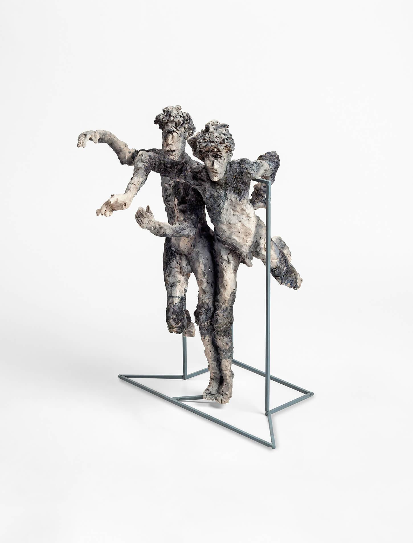 Rémi POLACK - Les siamois, blessures passées - Grès blanc/tissu, 60 x 85 x 55 cm