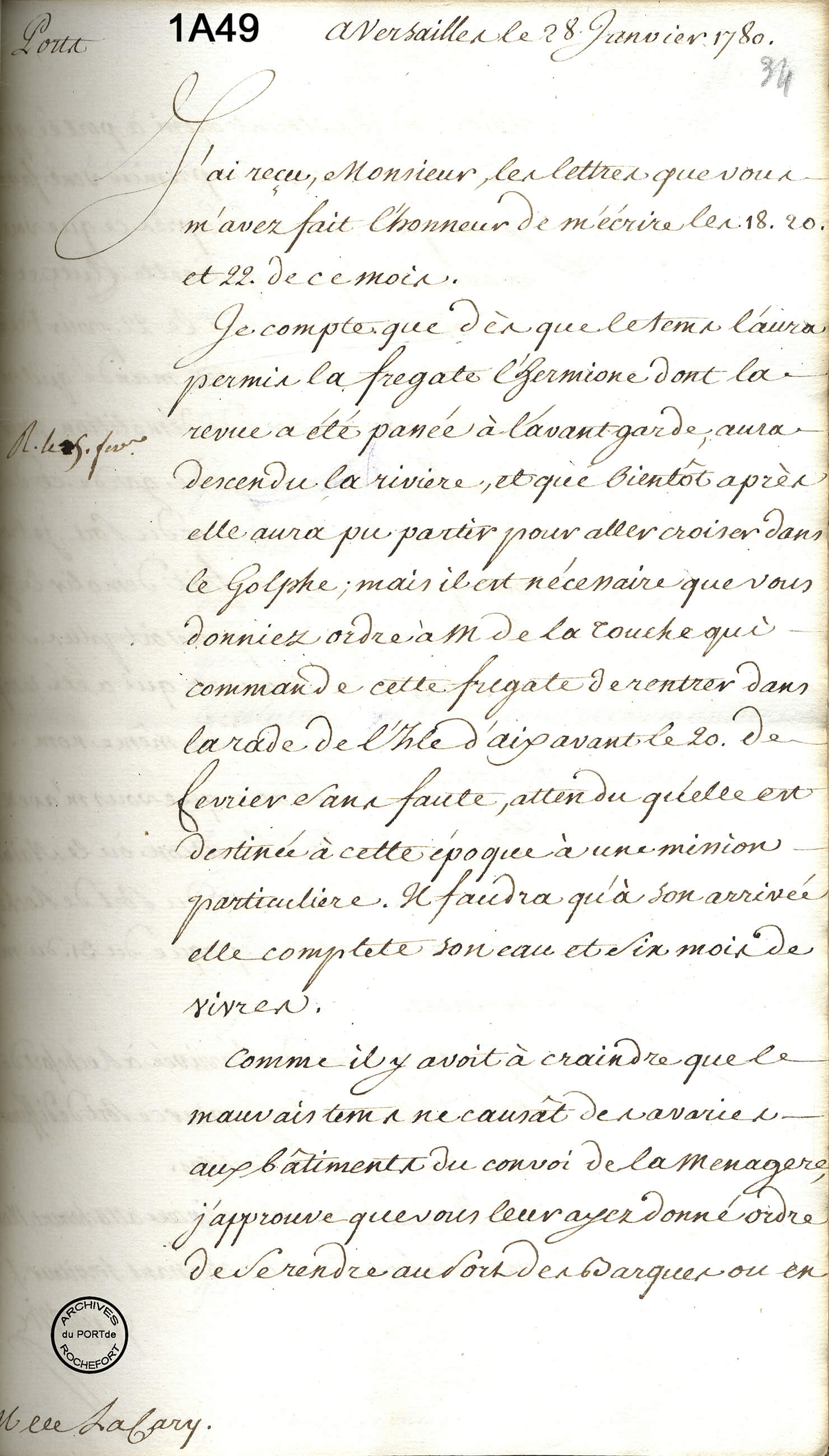 Correspondance entre le Ministre et l'Intendant, 1780 - © Service historique de la Défense, Rochefort – 1A49, F°34