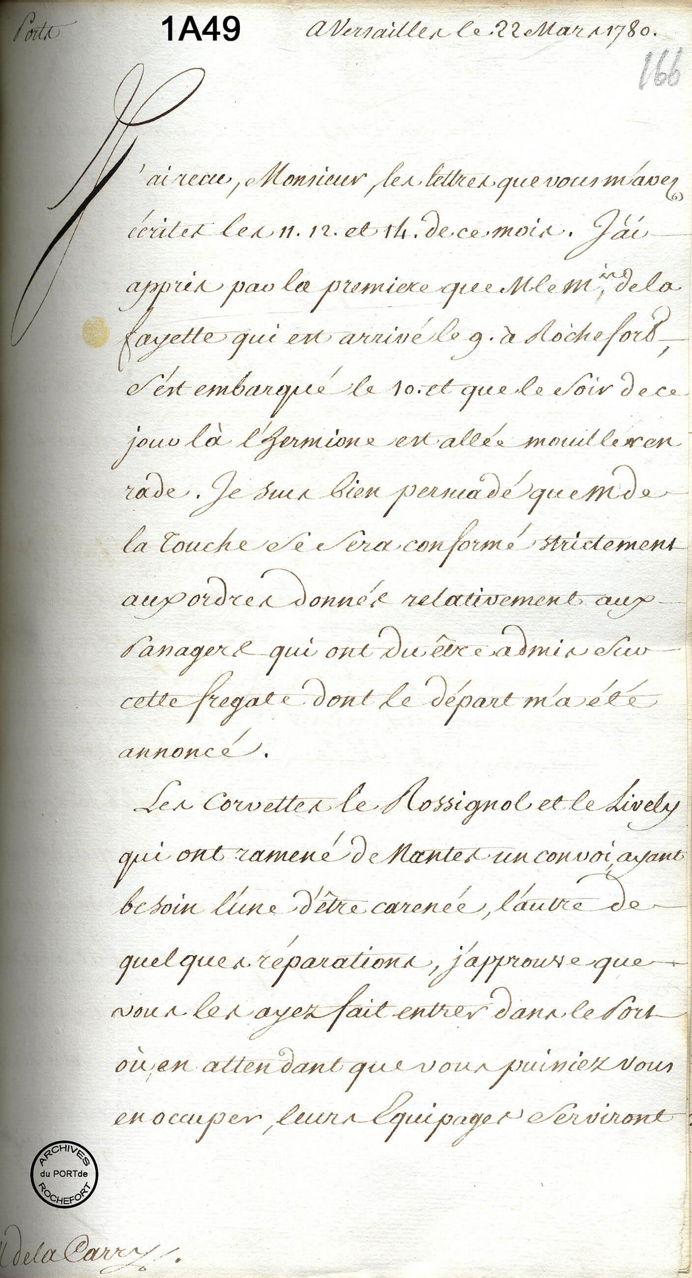 Correspondance entre le Ministre et l'Intendant, 1780 - 1A49, F° 166