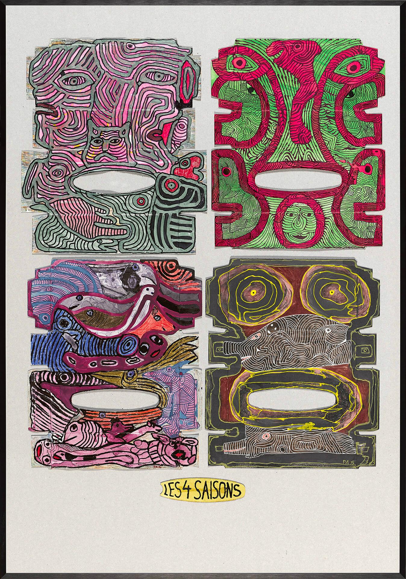 Pierre ALBASSER - Les 4 saisons - Cartons d'emballage et matériel de récupération - 70 x 100 cm