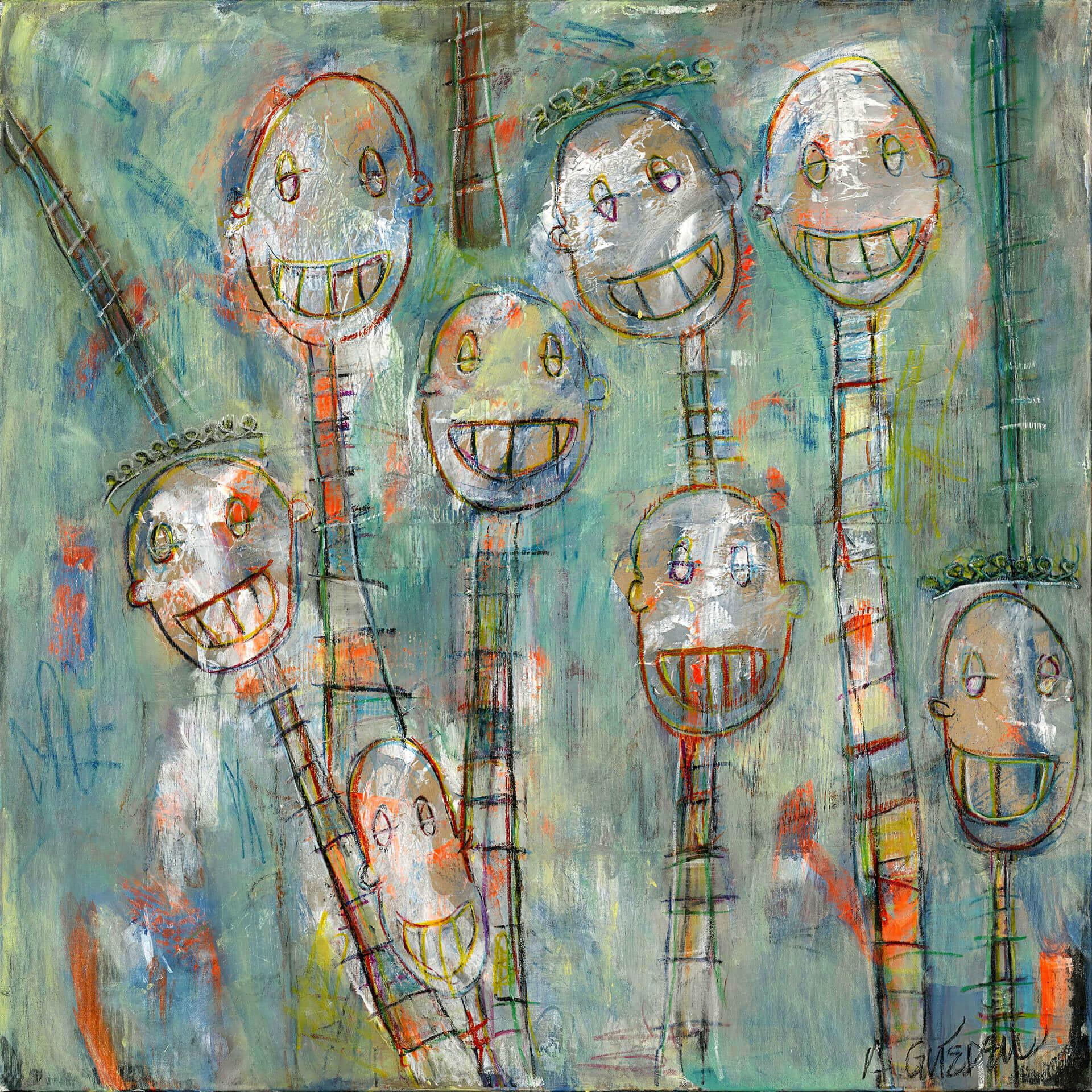 Agnès GUÉDEU - People - Acrylique - Technique mixte - 110 x110 cm