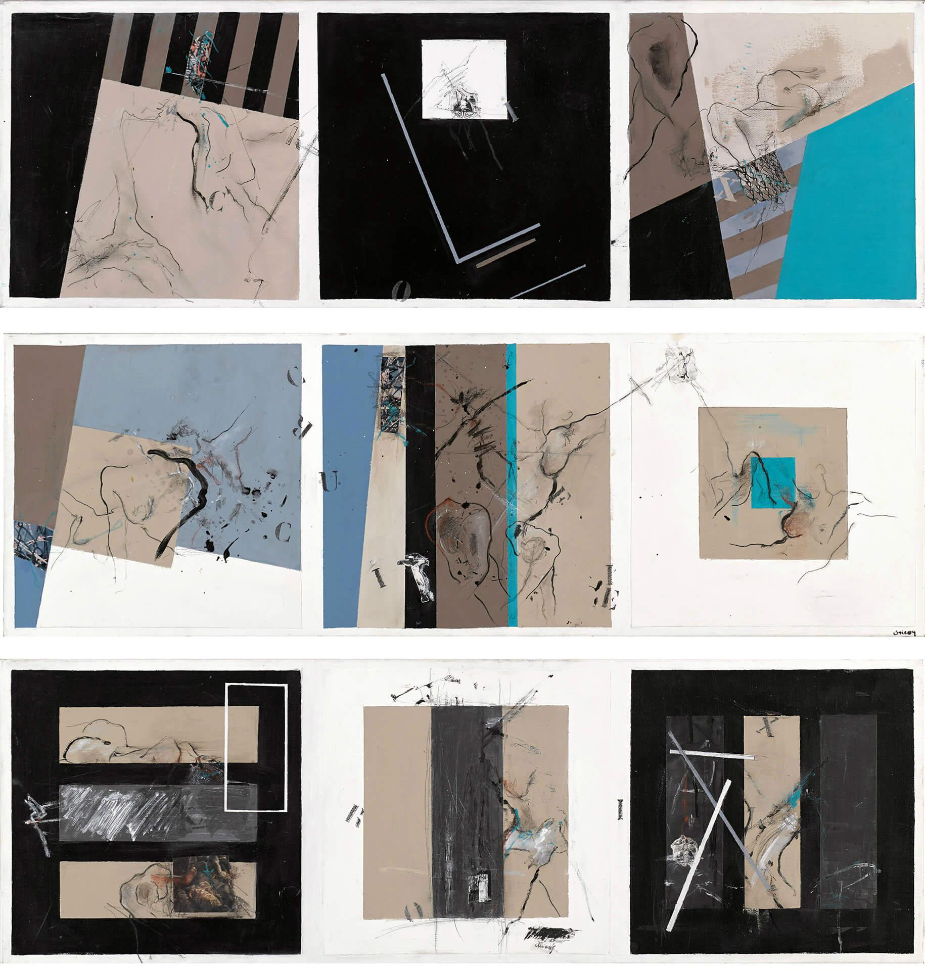 Odile LAYOUS DIT CHICOY - Chemin de croix - Acrylique - Technique mixte - 90 x 30 x 30 cm x 3